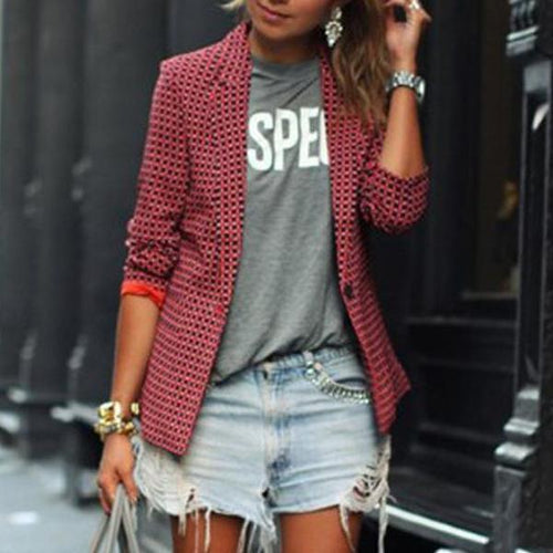 Fashion Casual Red Plaid Long-Sleeved Lapel Blazer Outwear