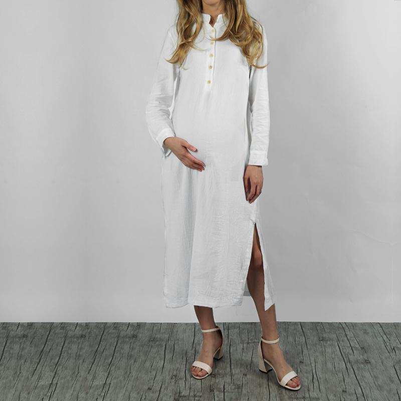 Maternity Kaftan Long Sleeve Split Plain Cotton Maxi  Dress