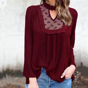 Lace-Paneled High-Neck Long Sleeve Blouse