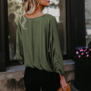 Women Long Sleeve V Neck Casual Blouse