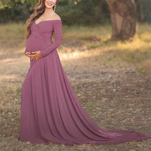 Load image into Gallery viewer, Maternity Off Shoulder Long Sleeve Floor-Length Gorgeous Dress