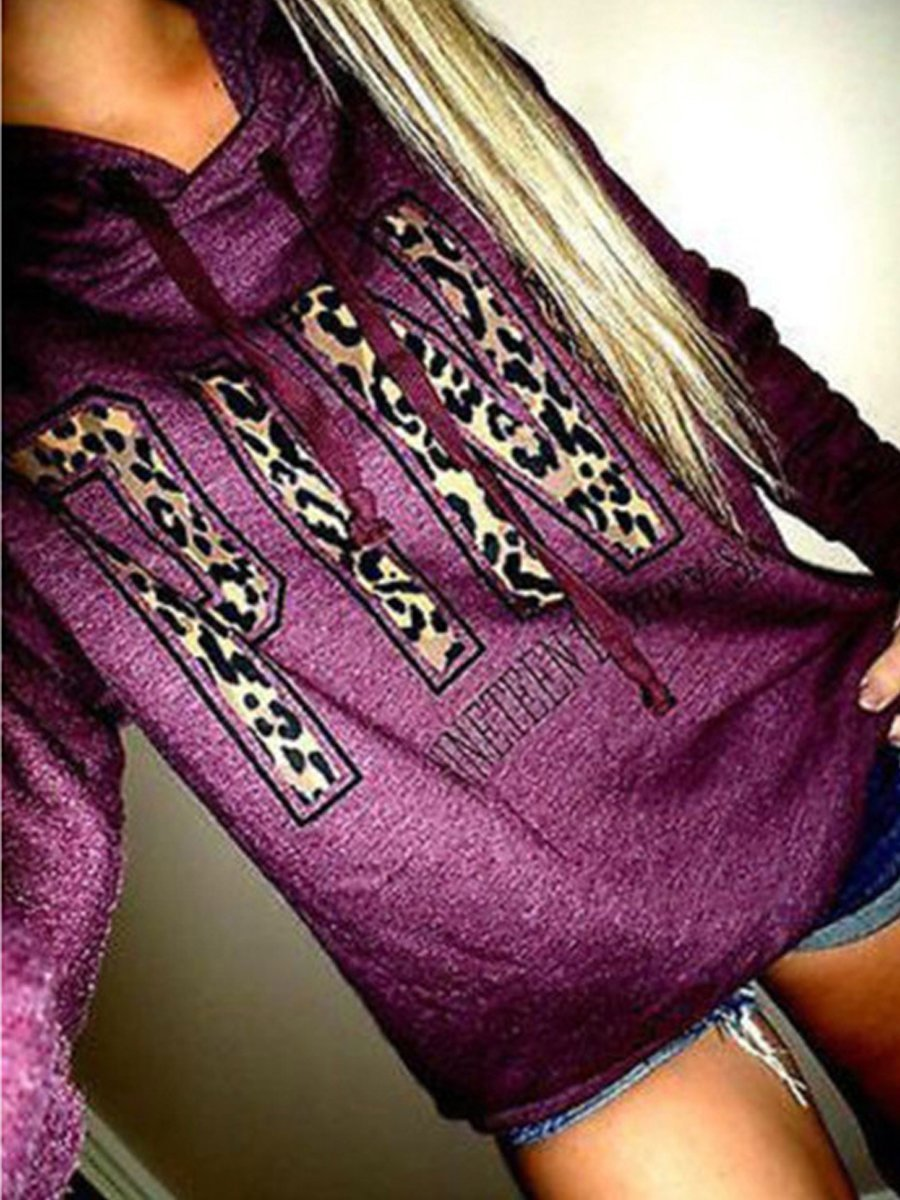 Letter Printed Hooded Long Sleeve Hoodies
