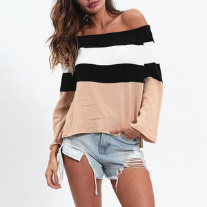 Off Shoulder Stripes Color Block Flare Sleeve Sweaters