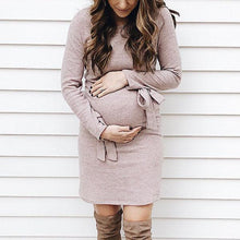 Load image into Gallery viewer, Maternity Long Sleeve With Bow Bodycon Dress