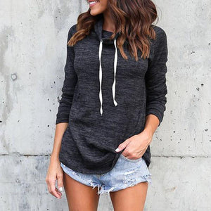 Long Sleeve High Collar Sling Rope Hoodie