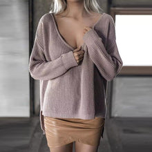 Load image into Gallery viewer, V Neck Long Sleeve Plain Sweaters
