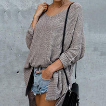Load image into Gallery viewer, V-Neck Oversize Bat Sleeve Long Knit Sweater