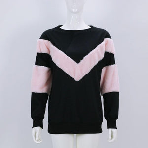 V-Type Hair And Sleeves Spelling Autumn And Winter Sweatshirts
