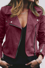 Load image into Gallery viewer, Fold Over Collar  Zipper  Plain Jackets