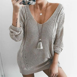 Casual Fashion Loose Plain V Collar Long Sleeve Sweater