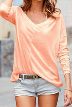 Load image into Gallery viewer, V Neck  Plain  Batwing Sleeve T-Shirts