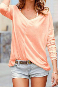 V Neck  Plain  Batwing Sleeve T-Shirts