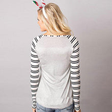 Load image into Gallery viewer, Long Sleeve Striped Christmas Letter Print T-Shirt