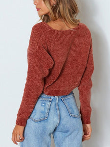 Solid Color Pullover V - Collar Long - Sleeved Sweater