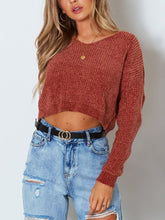 Load image into Gallery viewer, Solid Color Pullover V - Collar Long - Sleeved Sweater