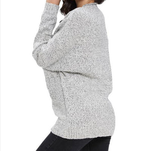 Sexy V Collar Overlapping Long Sleeves Knitted Sweater
