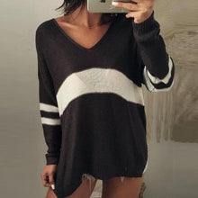 Load image into Gallery viewer, V-Neck Stripe Sweater