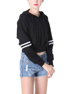 Solid Color Striped Long Sleeve Sport Hoodies