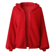 Load image into Gallery viewer, Hooded Long Lantern Sleeve Plain Zipper Coat