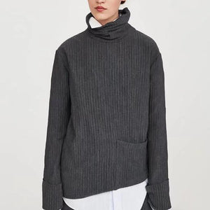 High Collar Long Sleeves Pocket Texture Sweater