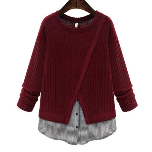 Circular Collar Long Sleeves Knitting T - Shirt