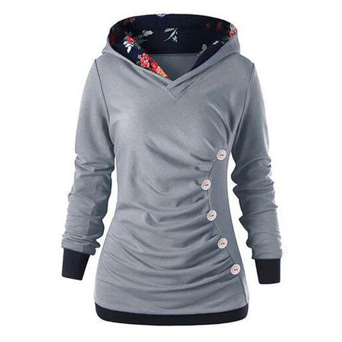 Splicing Pleat Button Long Sleeves Hoodie