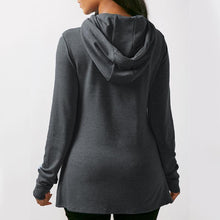 Load image into Gallery viewer, Asymmetrical Long Sleeve Plain Pullover Hoodie