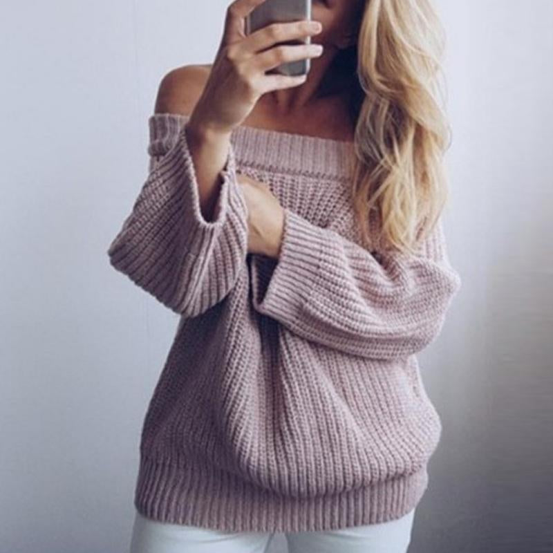 Circular Collar Long Sleeves Casual Knitted Sweater