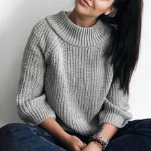 Load image into Gallery viewer, Circular Collar Long Sleeves Casual Knitted Sweater