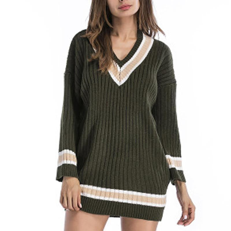 V Collar Long Sleeves Casual Comfort Knitted Sweater