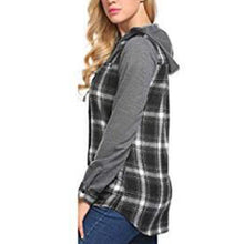Load image into Gallery viewer, Lattice Shirt Button Long Sleeves Hoodie