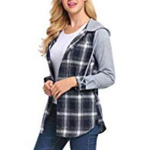 Lattice Shirt Button Long Sleeves Hoodie