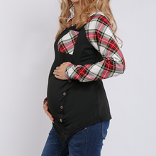 Load image into Gallery viewer, Long Sleeves Maternity Circular Collar Lattice Splicing T-Shirt