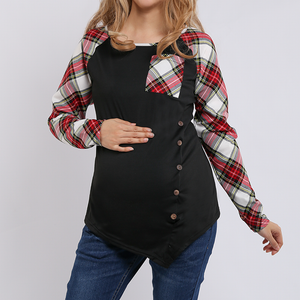 Long Sleeves Maternity Circular Collar Lattice Splicing T-Shirt