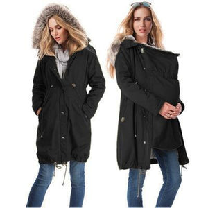 6c7eecde50366 Maternity 2-In-1 Cotton Canvas Parka Without Faux Fur Lining – peekkabo