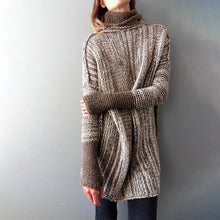 Load image into Gallery viewer, High Collar Long Sleeves Splicing Sweater