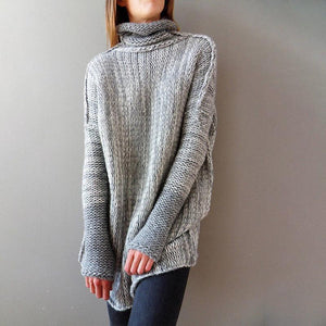 High Collar Long Sleeves Splicing Sweater