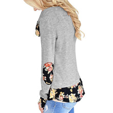 Load image into Gallery viewer, Circular Collar Splicing Printing Long Sleeves T-Shirt