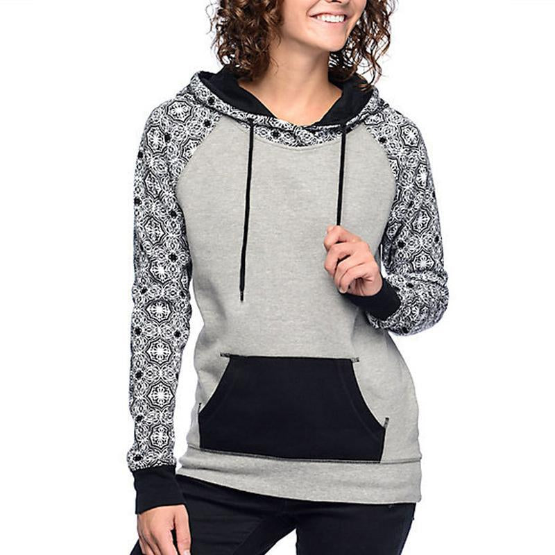 Printing Splicing Long Sleeves Hoodie