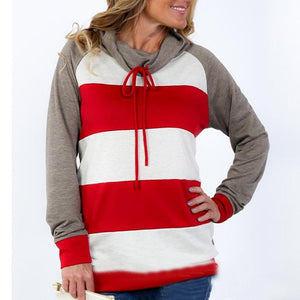 Stripe Blue Patchwork Long Sleeves Hoodie