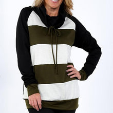 Load image into Gallery viewer, Stripe Blue Patchwork Long Sleeves Hoodie