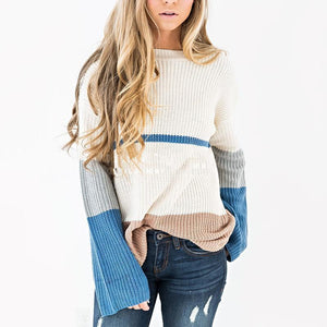 Circular Collar Color Collision Splicing Sweater