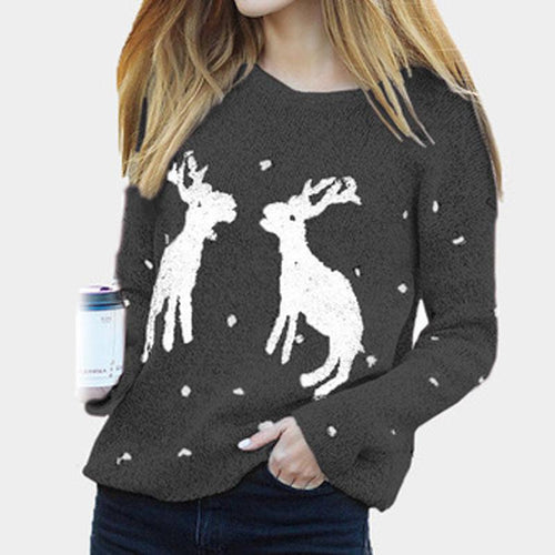 Christmas Elk Wave Point Long Sleeves Sweater