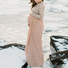 Load image into Gallery viewer, Maternity Long Sleeve Party Dress Gown Sequins Baby Shower Dress