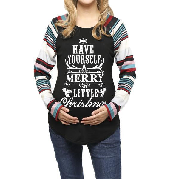 Maternity Christmas Shirt.Maternity Christmas Printed Raglan Sleeve T Shirt