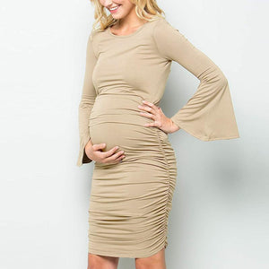 Hot Sale Maternity Long Bell Sleeve Comfy Dress
