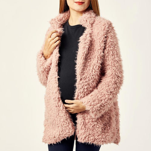 Maternity Fashion Solid Color Plush Thick Coat