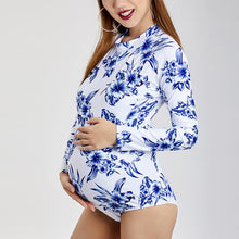 Load image into Gallery viewer, Maternity Long Sleeves Plant Printing One-Piece Swimsuit