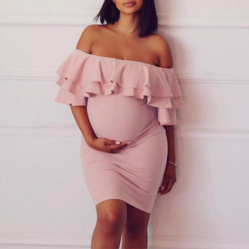 Maternity Sexy Off Shoulder Plain Ruffle Bodycon Dress