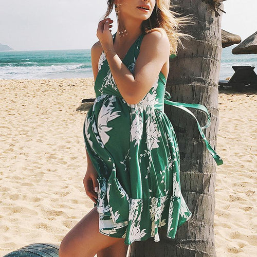 Maternity V-Neck Backless Beach Casual Print Dress